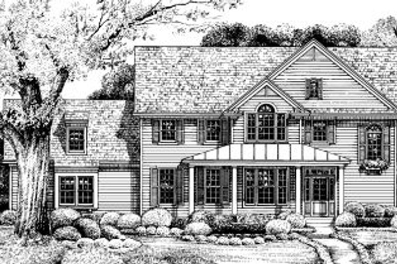 Traditional Style House Plan - 3 Beds 3 Baths 1835 Sq/Ft Plan #20-573 Exterior - Front Elevation