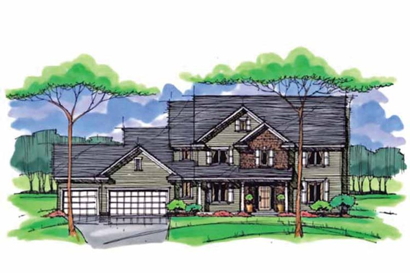 Colonial Exterior - Front Elevation Plan #51-1014