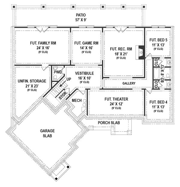 European Floor Plan - Lower Floor Plan #119-427