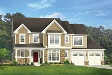 Colonial Exterior - Front Elevation Plan #1010-166