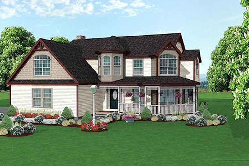 Traditional Style House Plan - 4 Beds 2.5 Baths 2370 Sq/Ft Plan #75-137 Exterior - Front Elevation