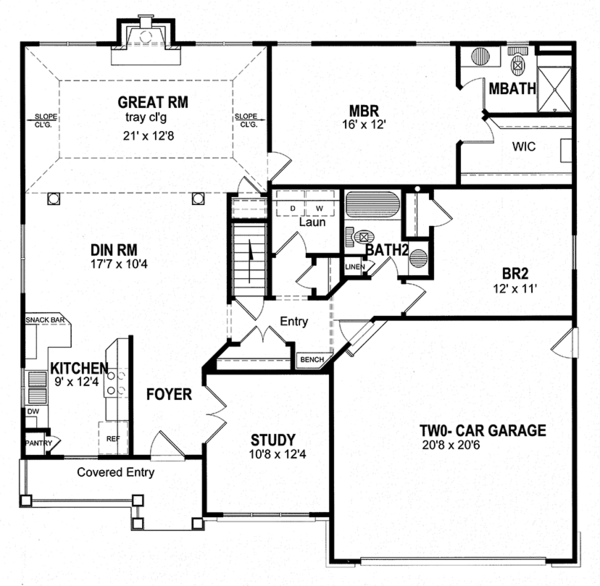 House Plan Design - Ranch Floor Plan - Main Floor Plan #316-254