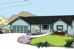Architectural House Design - Country Exterior - Front Elevation Plan #60-1030