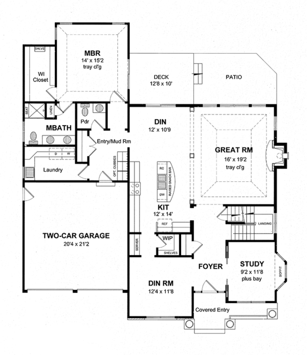 House Plan Design - Craftsman Floor Plan - Main Floor Plan #316-282