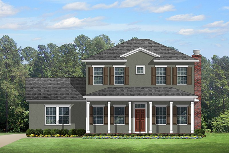 Colonial Style House Plan - 4 Beds 3.5 Baths 2920 Sq/Ft Plan #1058-132 Exterior - Front Elevation