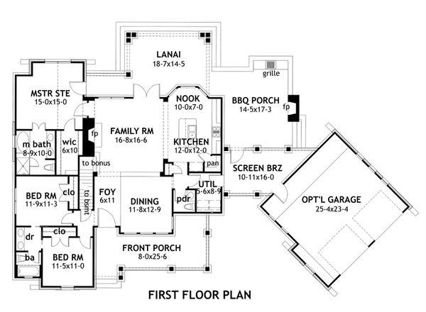 Craftsman Style House Plan - 3 Beds 2.5 Baths 1698 Sq/Ft Plan #120-168 Floor Plan - Main Floor Plan