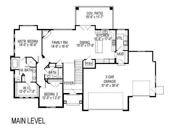 Craftsman Floor Plan - Main Floor Plan Plan #920-7