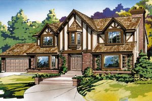 Tudor Exterior - Front Elevation Plan #47-446