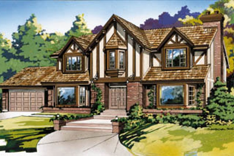 Tudor Style House Plan - 4 Beds 3 Baths 2916 Sq/Ft Plan #47-446 Exterior - Front Elevation