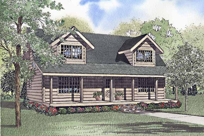 Log Exterior - Front Elevation Plan #17-3221
