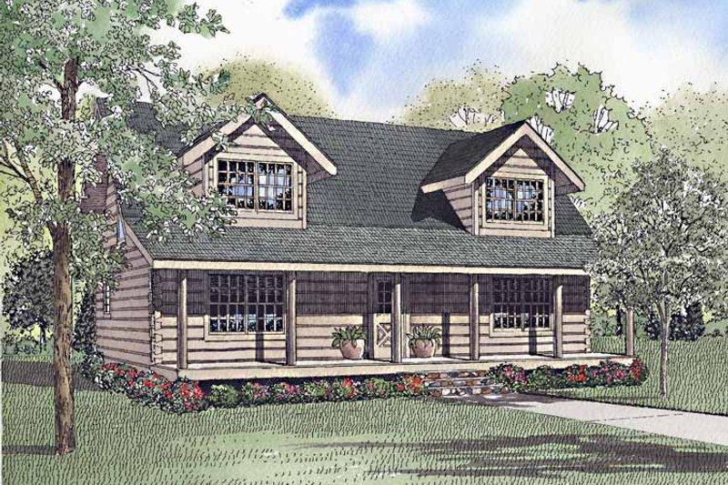 Log Exterior - Front Elevation Plan #17-3221