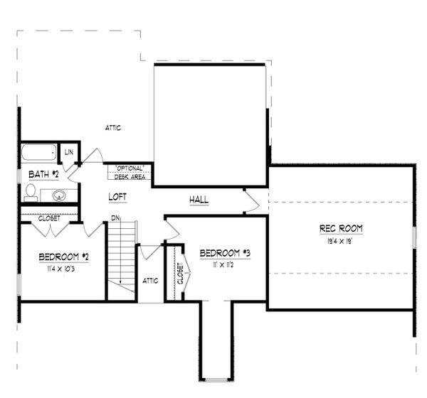 European Floor Plan - Upper Floor Plan Plan #424-399