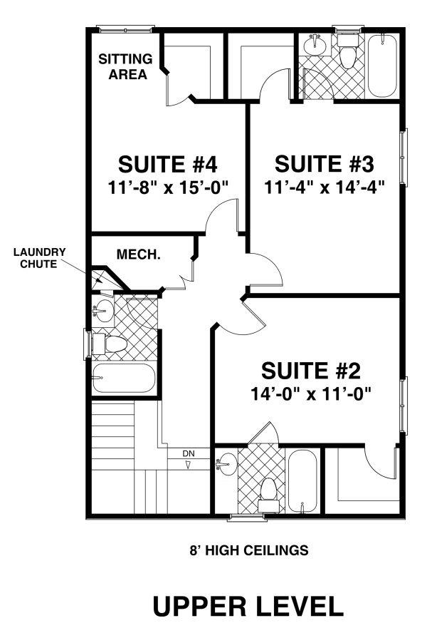 Modern Floor Plan - Upper Floor Plan #56-723