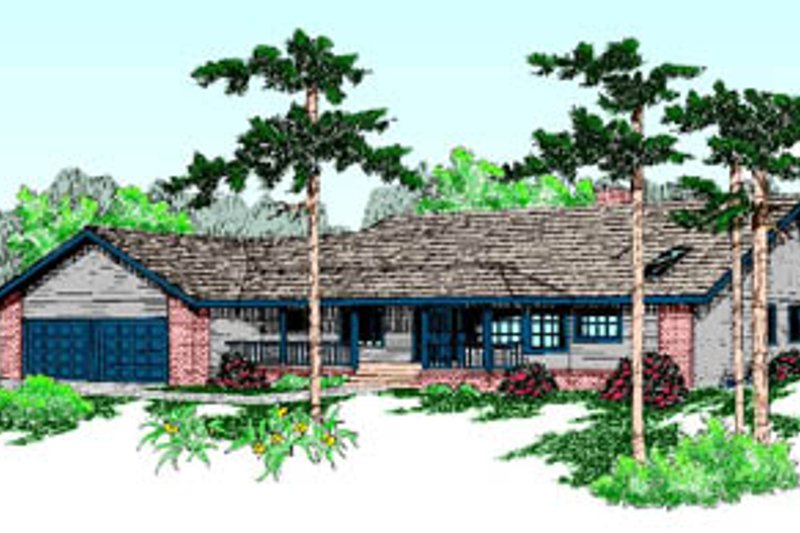 Ranch Style House Plan - 3 Beds 2 Baths 2282 Sq/Ft Plan #60-188 Exterior - Front Elevation