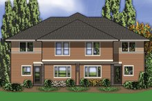 House Plan Design - Rear View - 2800 square foot Modern Duplex