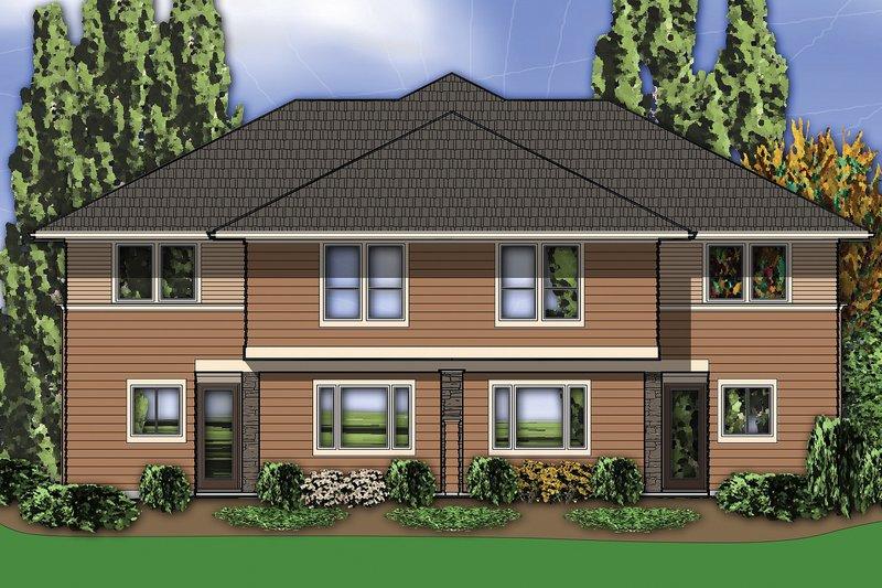 Rear View - 2800 square foot Modern Duplex