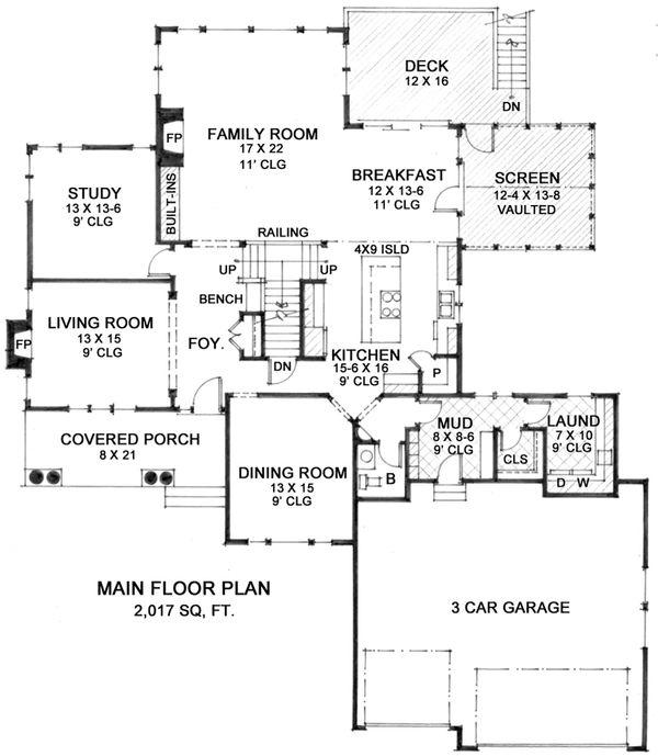 Country Floor Plan - Main Floor Plan Plan #51-561