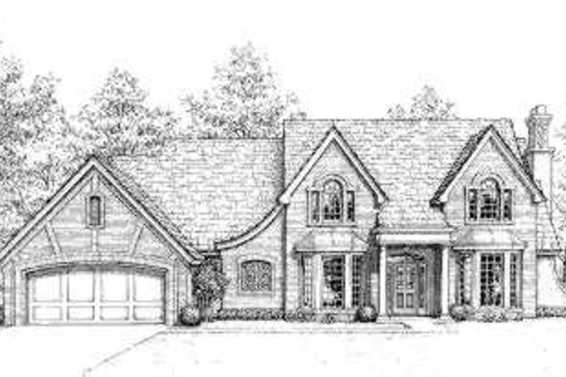 European Style House Plan - 4 Beds 3.5 Baths 2656 Sq/Ft Plan #310-197 Exterior - Front Elevation