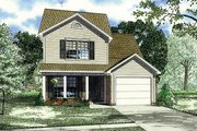Traditional Style House Plan - 4 Beds 3.5 Baths 1646 Sq/Ft Plan #17-2436 Exterior - Front Elevation