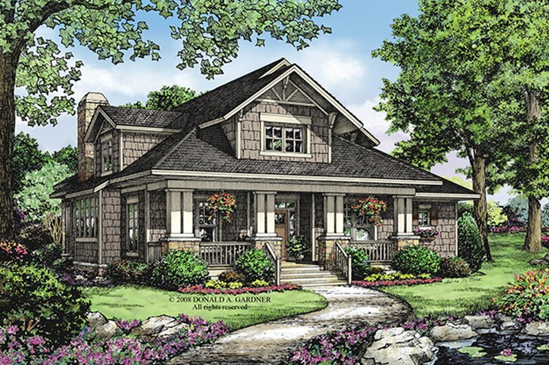 Bungalow Exterior - Front Elevation Plan #929-38