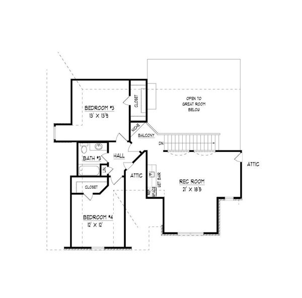 Traditional Floor Plan - Upper Floor Plan Plan #424-423