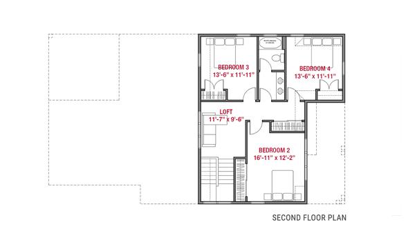 Farmhouse Floor Plan - Upper Floor Plan #1079-4