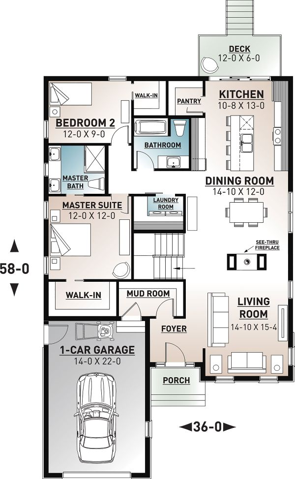 Craftsman Floor Plan - Main Floor Plan Plan #23-2692