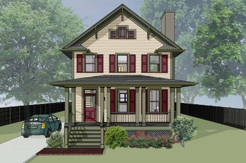Traditional Style House Plan - 3 Beds 2.5 Baths 1648 Sq/Ft Plan #79-268 Exterior - Front Elevation