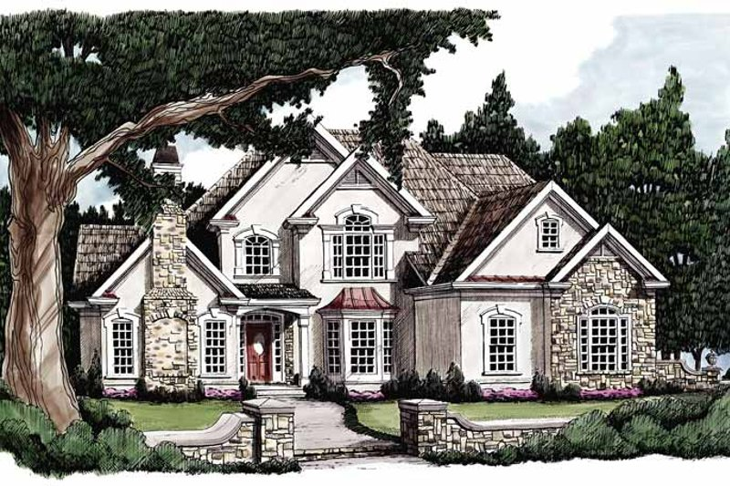 European Exterior - Front Elevation Plan #927-77