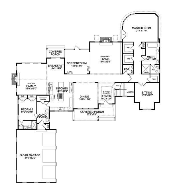 Craftsman Floor Plan - Main Floor Plan Plan #314-294