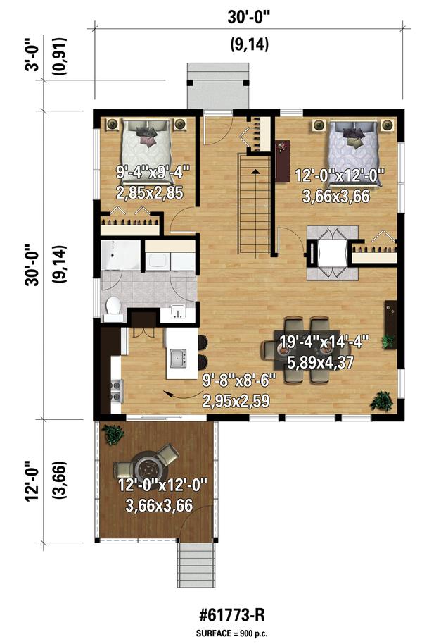 Contemporary Floor Plan - Main Floor Plan Plan #25-4525