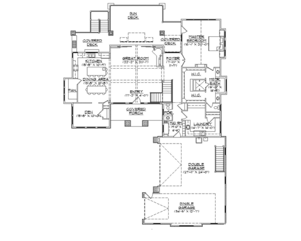 Craftsman Floor Plan - Main Floor Plan Plan #945-138