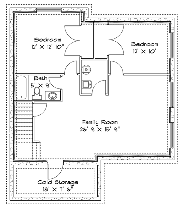 Traditional Floor Plan - Lower Floor Plan Plan #1060-32