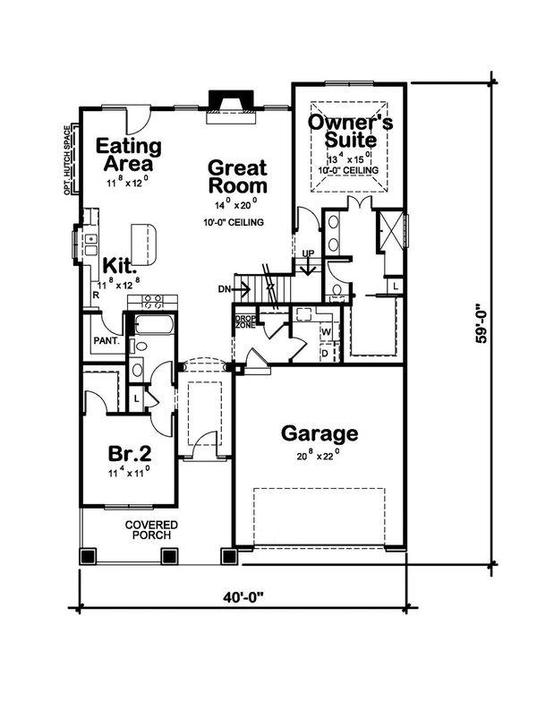 Home Plan - Craftsman Floor Plan - Main Floor Plan #20-2414