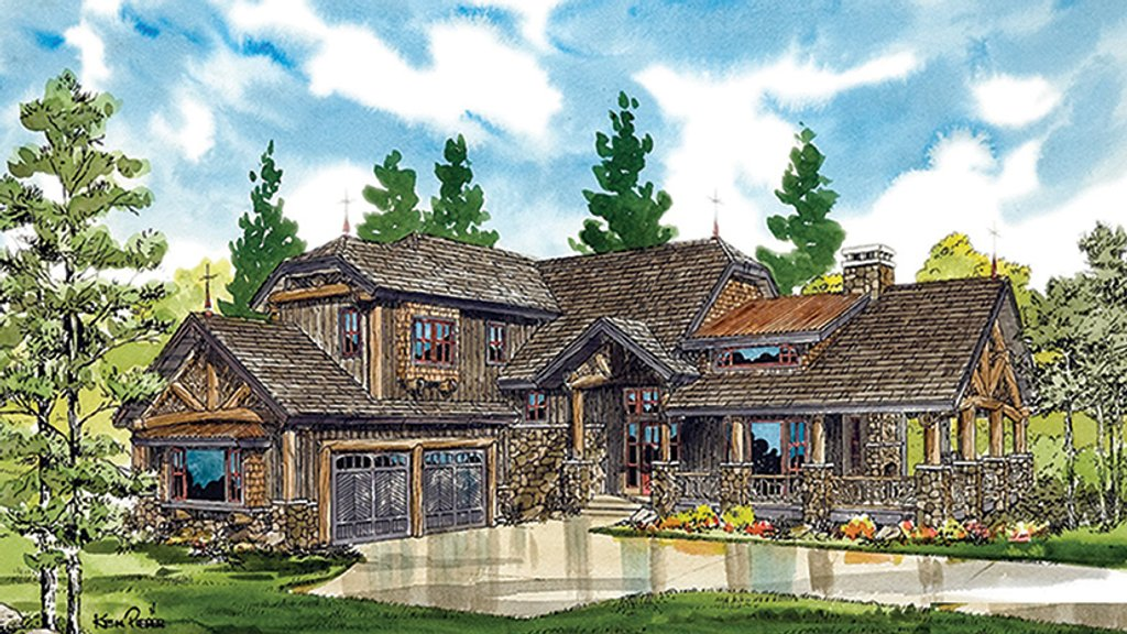 Cabin Exterior Front Elevation Plan 942 36