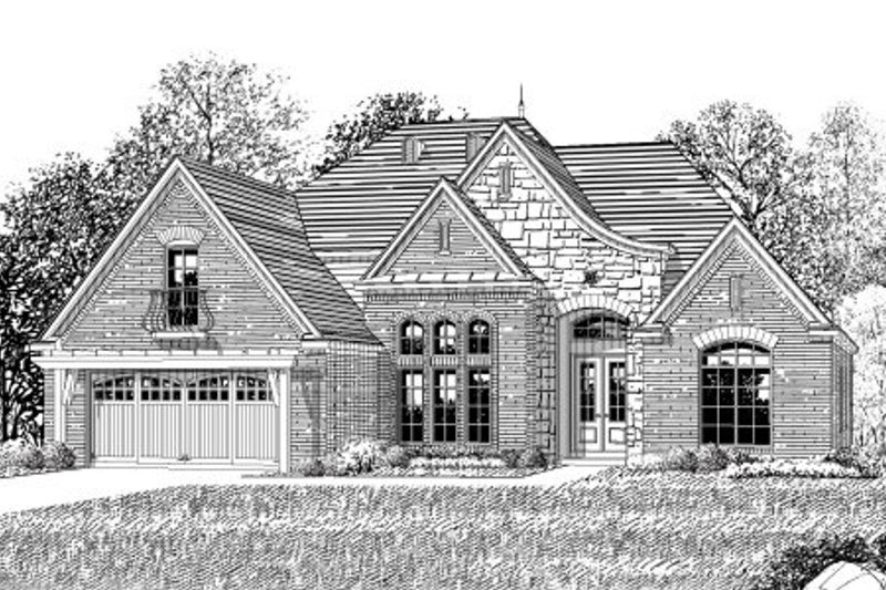 European Style House Plan - 3 Beds 3 Baths 2593 Sq/Ft Plan #424-311 Exterior - Front Elevation