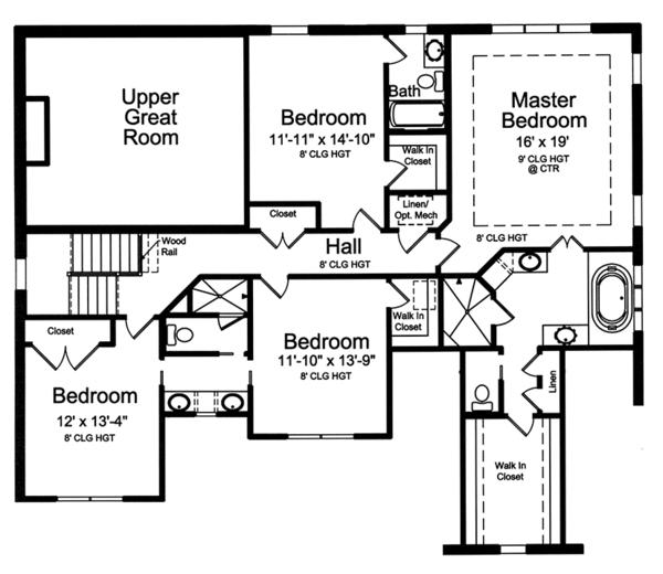 Country Floor Plan - Upper Floor Plan Plan #46-862