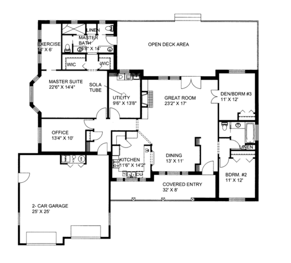 Ranch Floor Plan - Main Floor Plan Plan #117-851