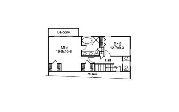 European Floor Plan - Upper Floor Plan Plan #57-676