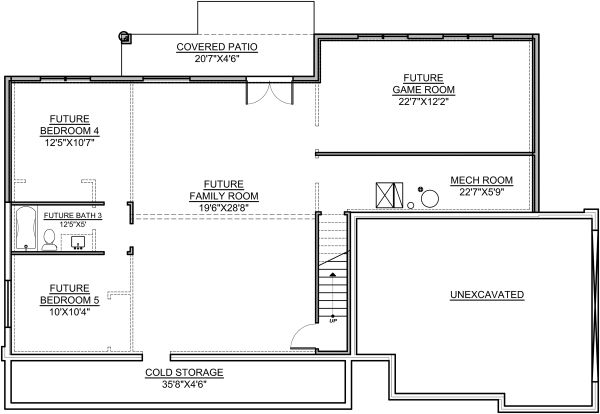Architectural House Design - Craftsman Floor Plan - Lower Floor Plan #1073-13
