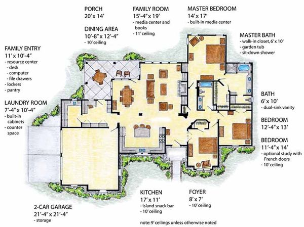 European Floor Plan - Main Floor Plan Plan #410-3563