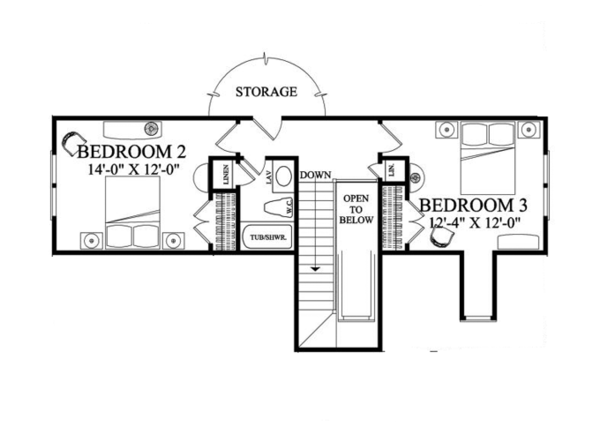 Traditional Floor Plan - Upper Floor Plan Plan #137-361