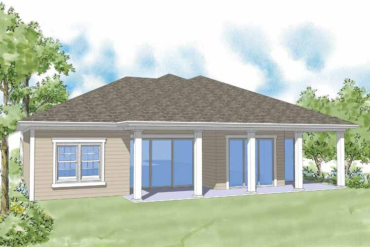 Classical Exterior - Rear Elevation Plan #930-370