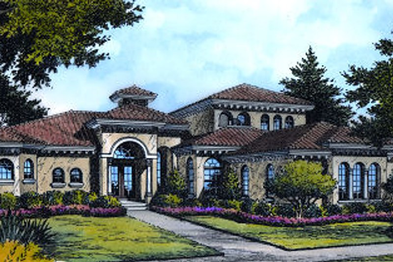 European Style House Plan - 5 Beds 6.5 Baths 6363 Sq/Ft Plan #417-446 Exterior - Front Elevation