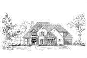 European Style House Plan - 4 Beds 4.5 Baths 3885 Sq/Ft Plan #411-675 Exterior - Front Elevation