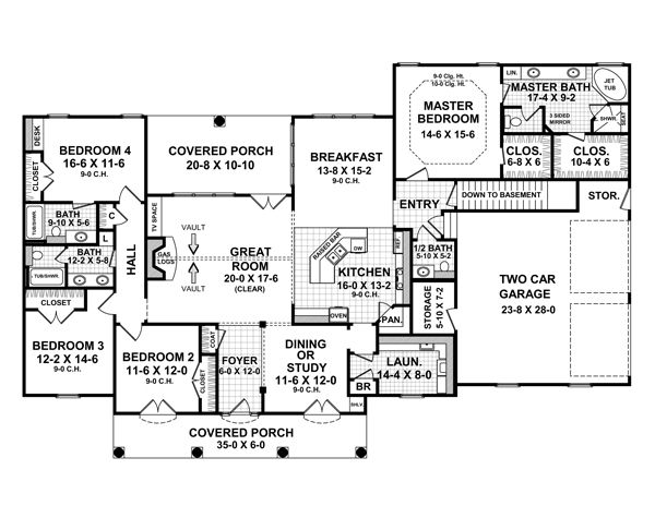 European Floor Plan - Main Floor Plan Plan #21-332
