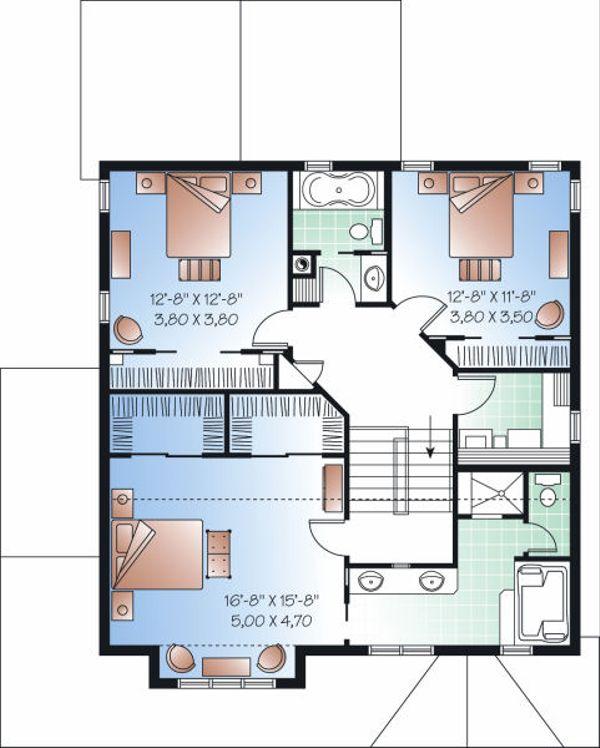 Craftsman Floor Plan - Upper Floor Plan Plan #23-815