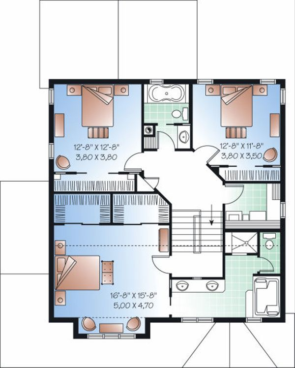 Architectural House Design - Craftsman Floor Plan - Upper Floor Plan #23-815
