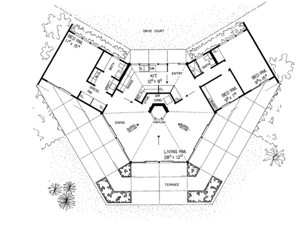 Contemporary Floor Plan - Main Floor Plan Plan #72-522