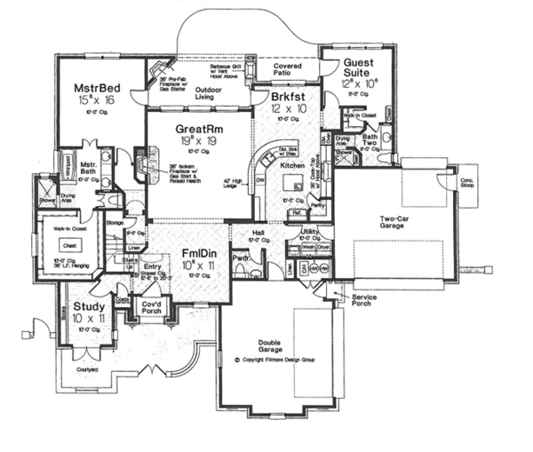 House Plan Design - European Floor Plan - Main Floor Plan #310-1276